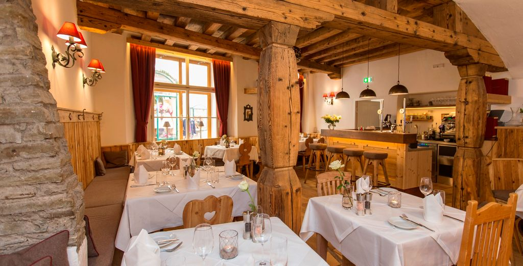 Take a seat at the Gasthof restaurant...