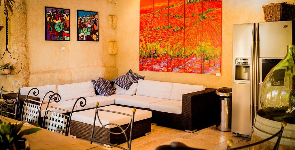 Designer furniture and vibrant artwork