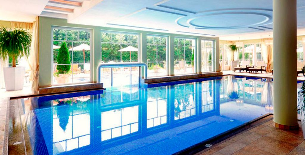 Take a dip in the large indoor swimming pool