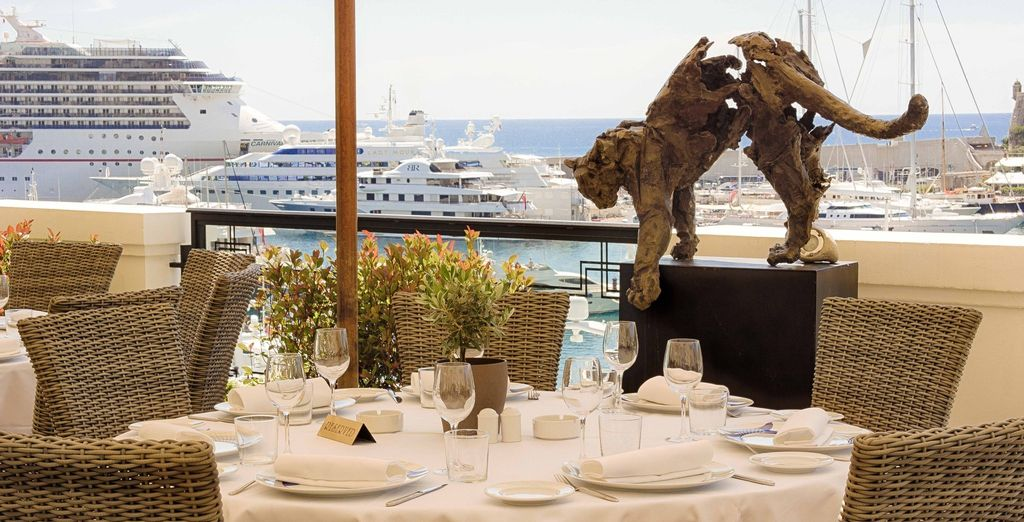 To be enjoyed on the terrace, with a view of  Hercule Port