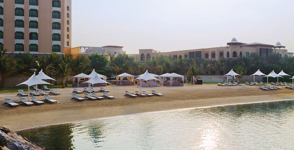 On the hotel's private beach