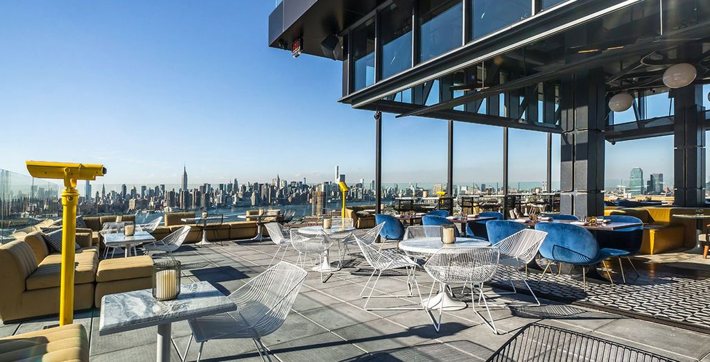 When the weather is right, enjoy a drink at the chic rooftop bar