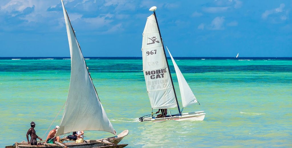 Sail along the calm Indian Ocean waters