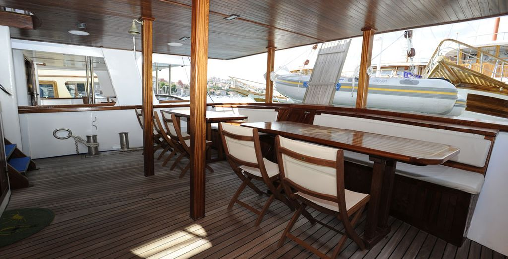 Take advantage of the decks and gaze out as you crusie along