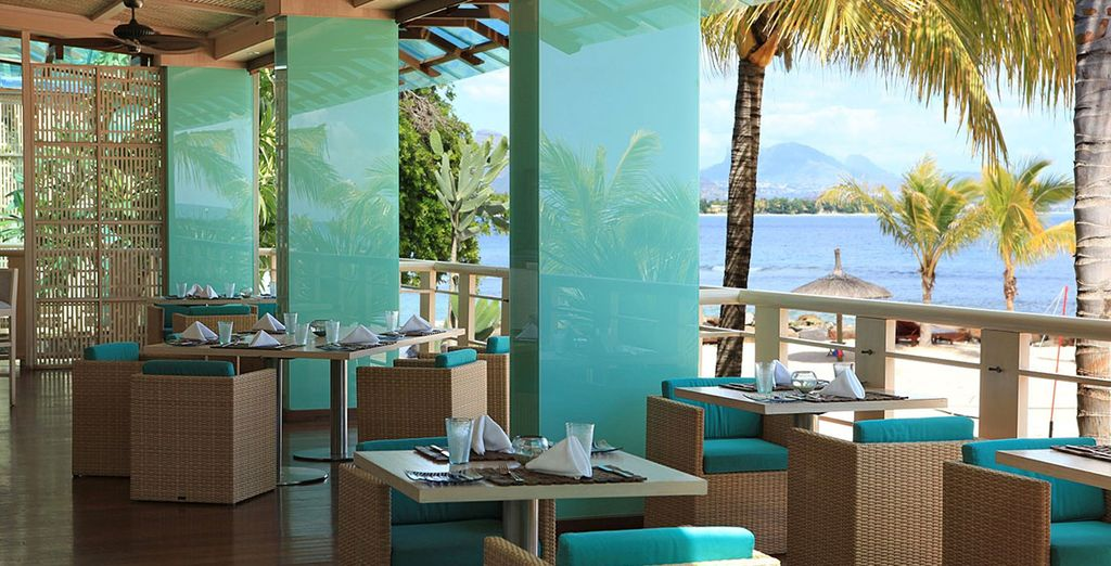 Enjoy breakfast with views of the sea