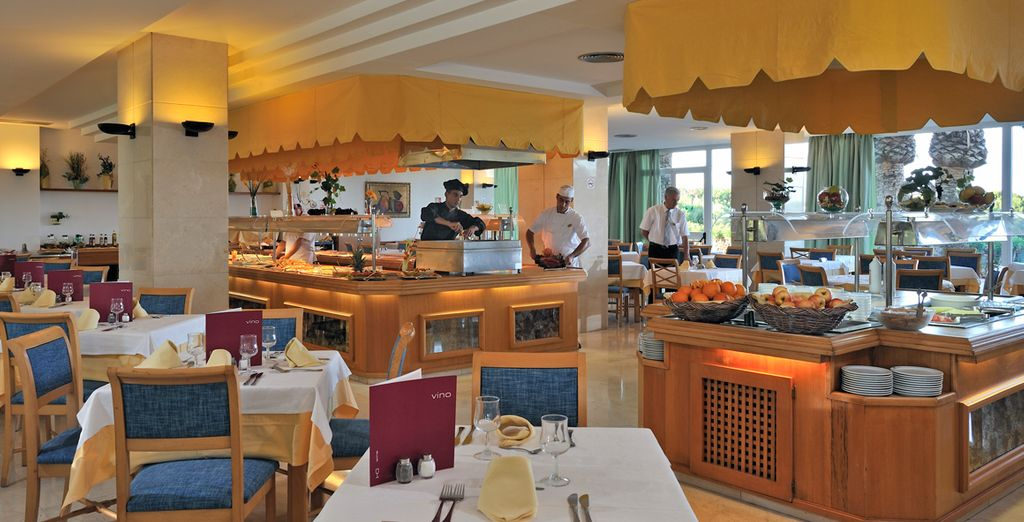 Taste a variety of hot and cold dishes in the restaurant