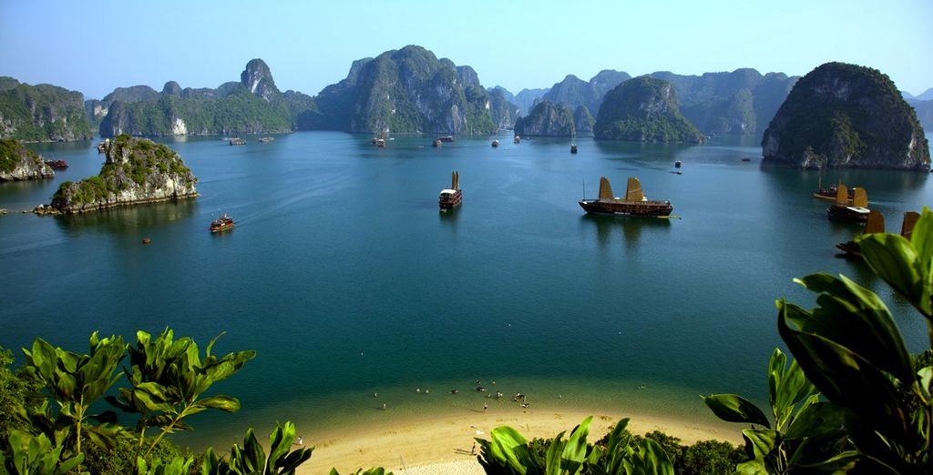 Afterwards, head to the lush waters of Ha Long Bay