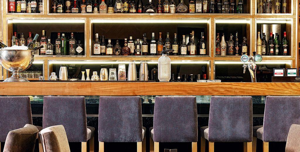 Start your night at the stylish bar