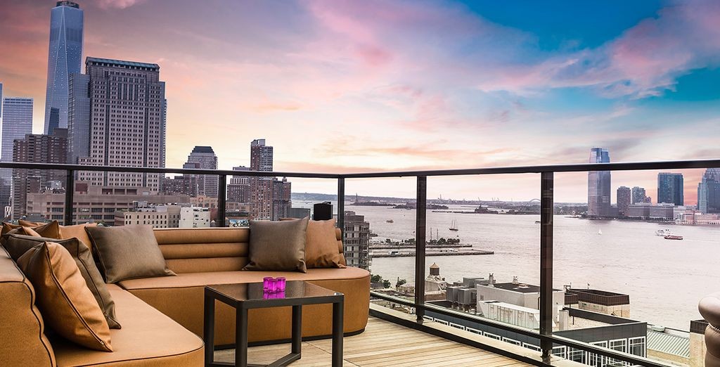 Admire views of the Hudson River from the rooftop bar