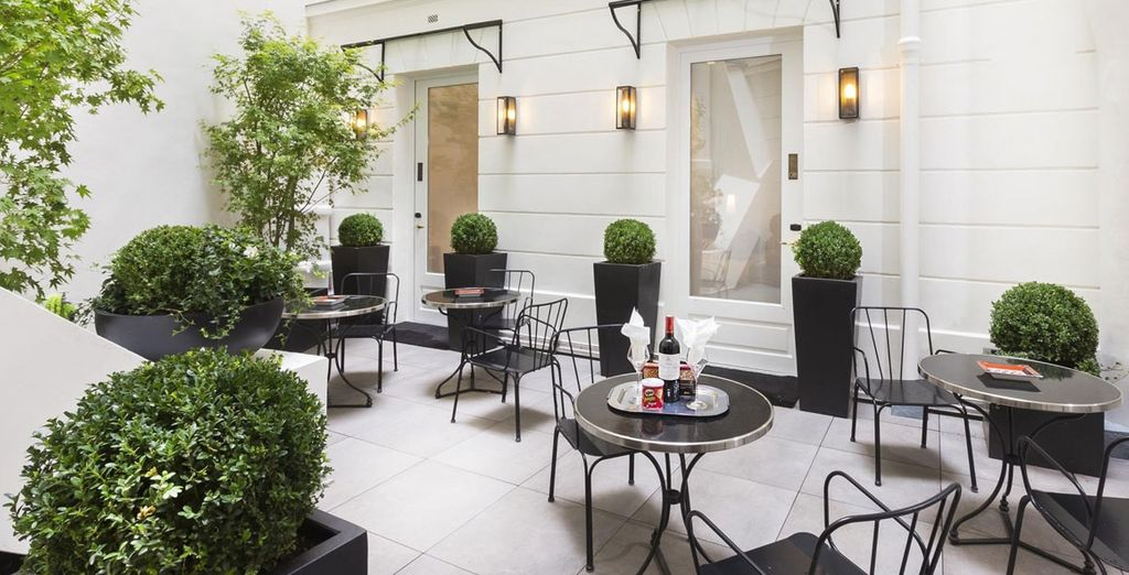 In the springtime, enjoy an al fresco snack and wine when you return to your hotel