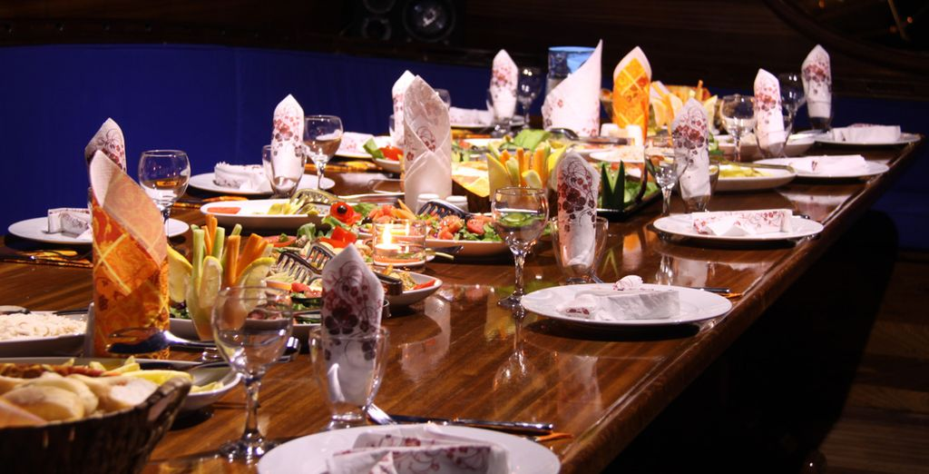 Enjoy a full board stay and taste the delicious food