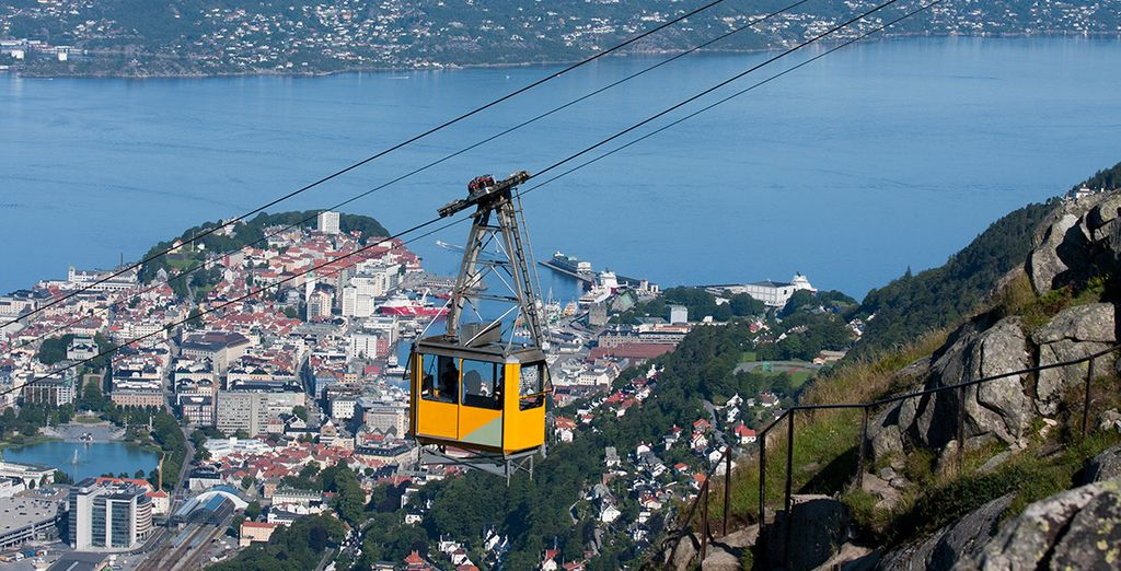 Take the cable car or furnicular to the top of Mount Floyen