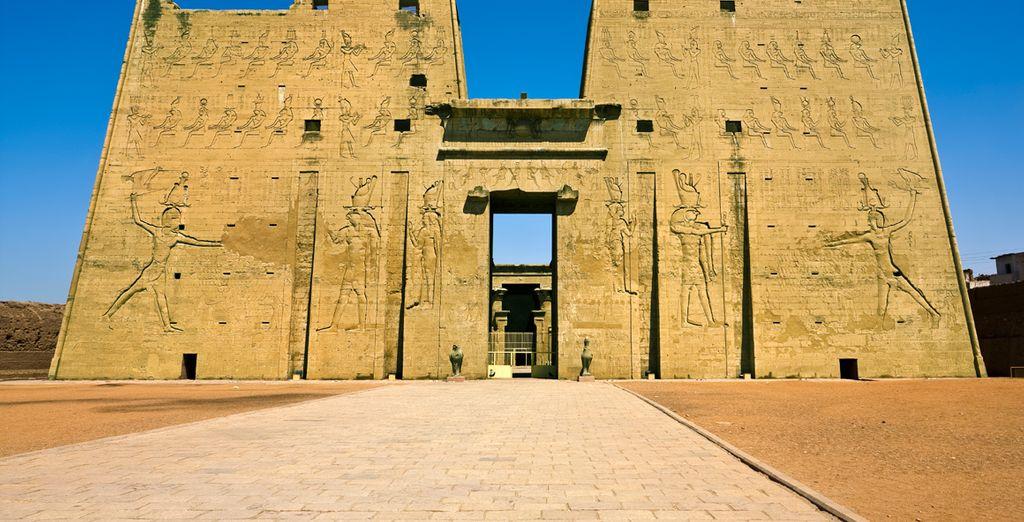 Experience the imposing facade of the Edfu Temple