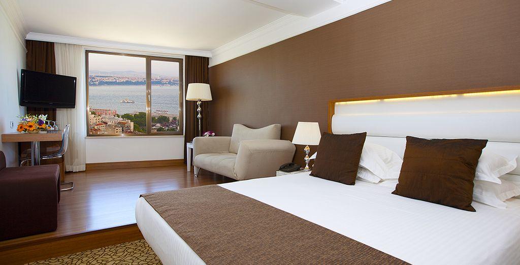 Relax in sleek comfort in your beautiful room