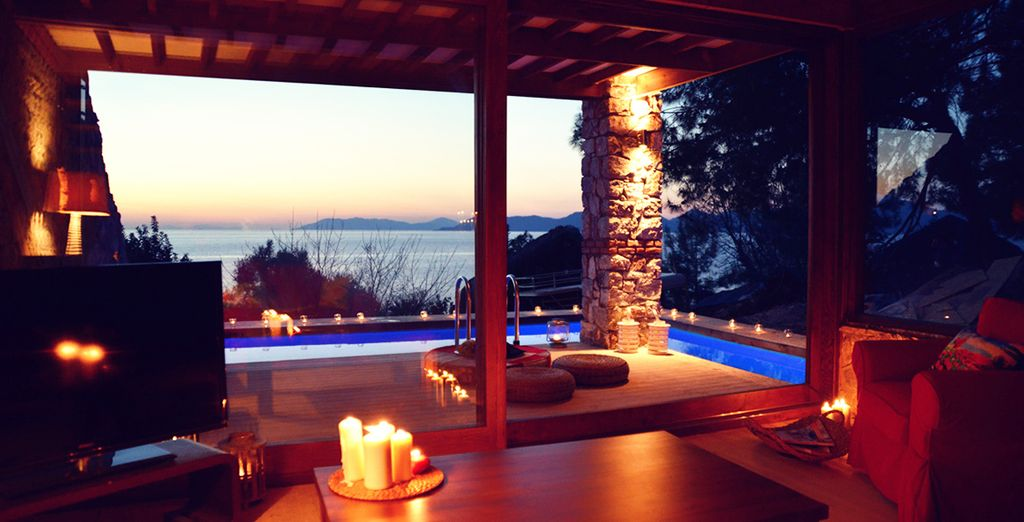 With a private wrap- around infinity pool