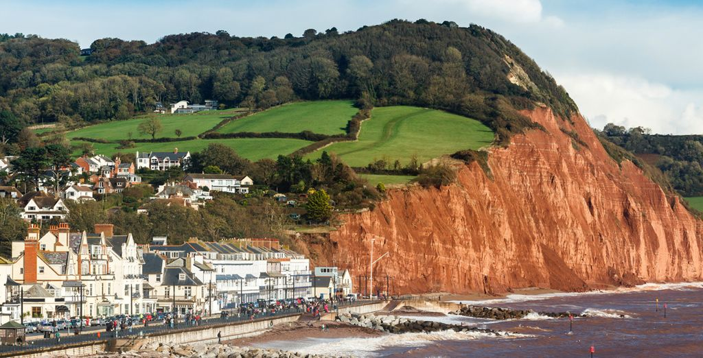 Near the dramatic red cliffs of Sidmouth