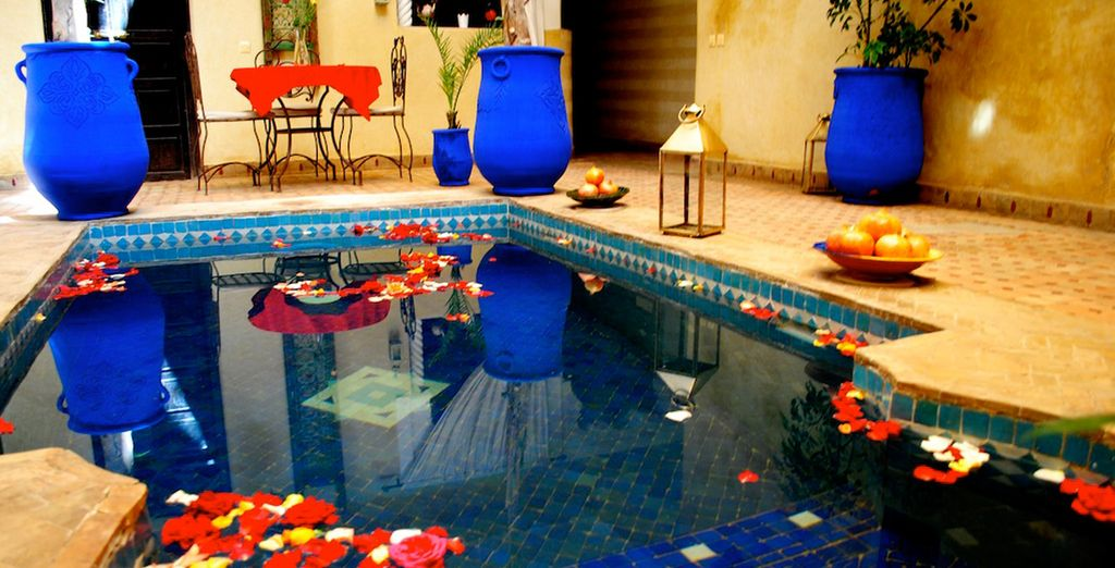 Cool off in the pool, located in the riad's central courtyard