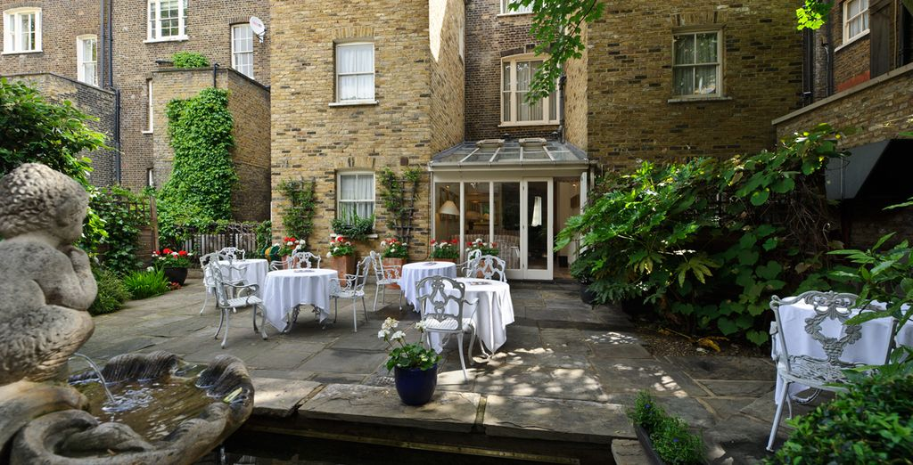 The hotel garden is a tranquil haven where you can escape the energy of the city
