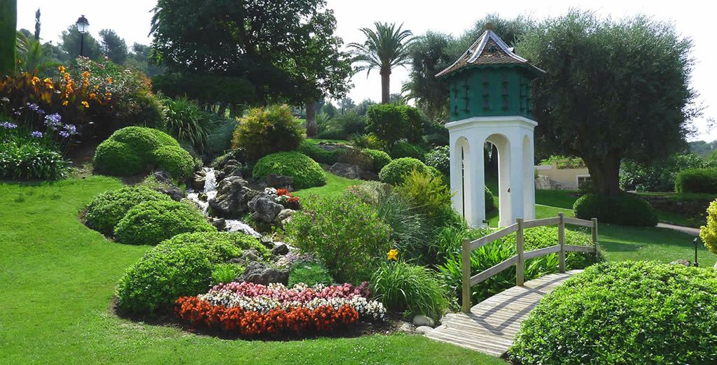 Stroll around the beautifully tended gardens