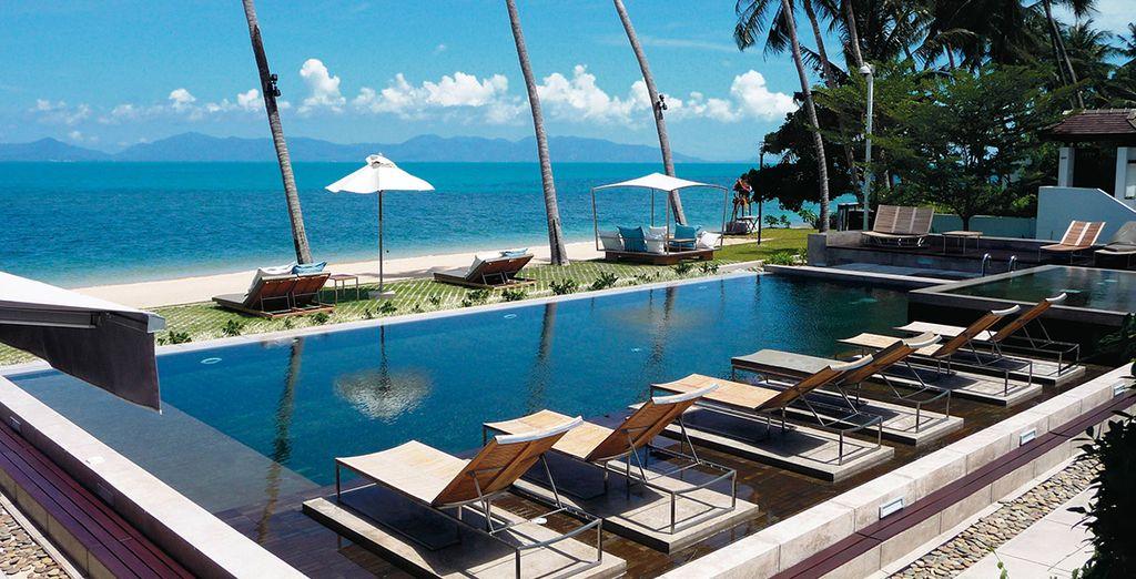 Take a refreshing dip in the modern swimming pool