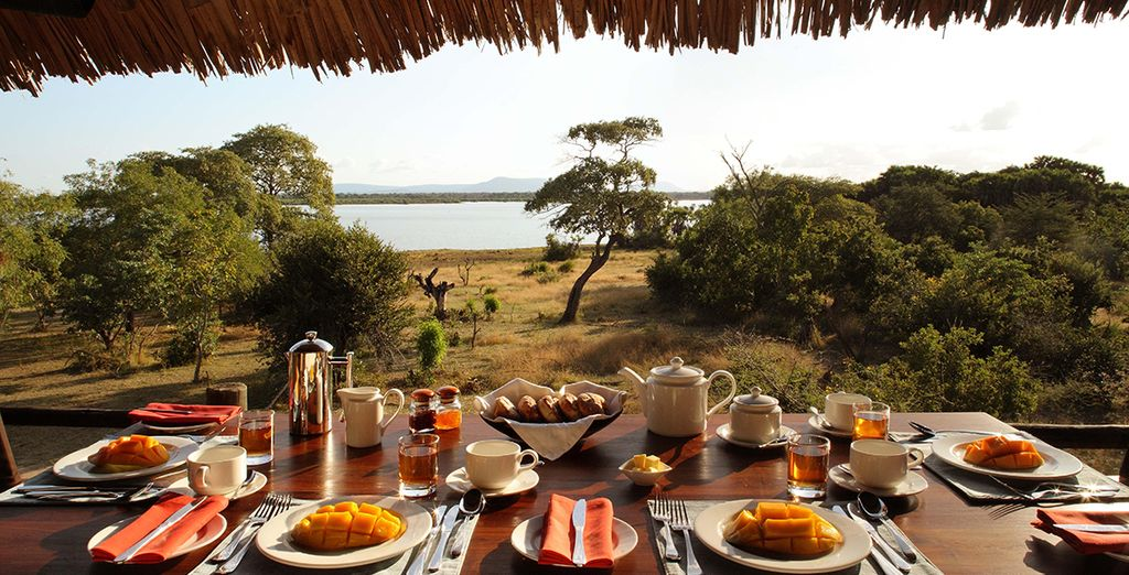 Enjoy a hearty breakfast at Selous Game Reserve