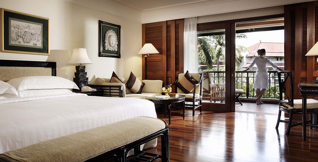 Where your spacious room overlooks  the resort's tropical gardens, pools and lagoons
