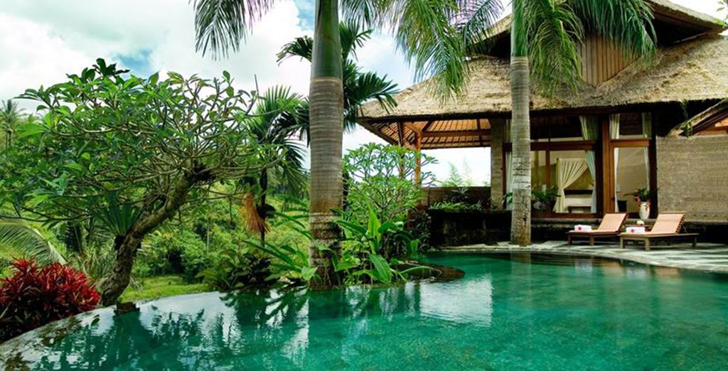 With a stunning private pool...