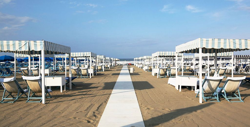The famous sandy beach of Lido di Camaiore is just 10 minutes walk away from your hotel