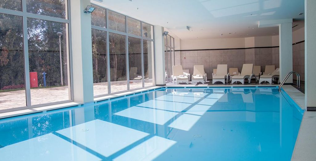 Make use of the facilities, including an indoor and outdoor pool