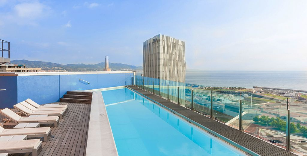 Relax on this rooftop pool
