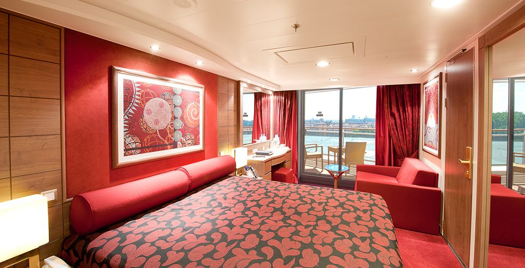 Cruise alone the waters in a Balcony Stateroom