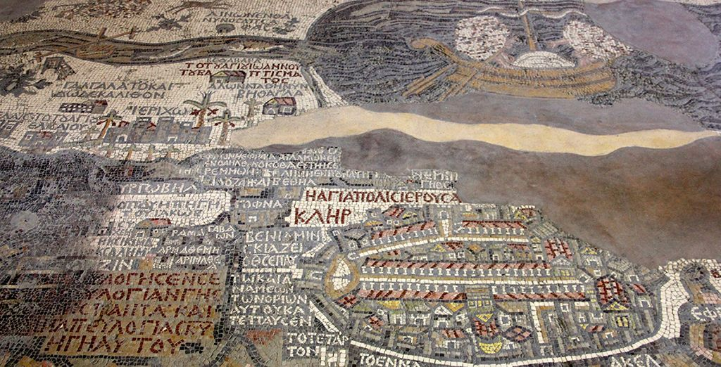 Marvel at the famous mosaic map of the Holy Land