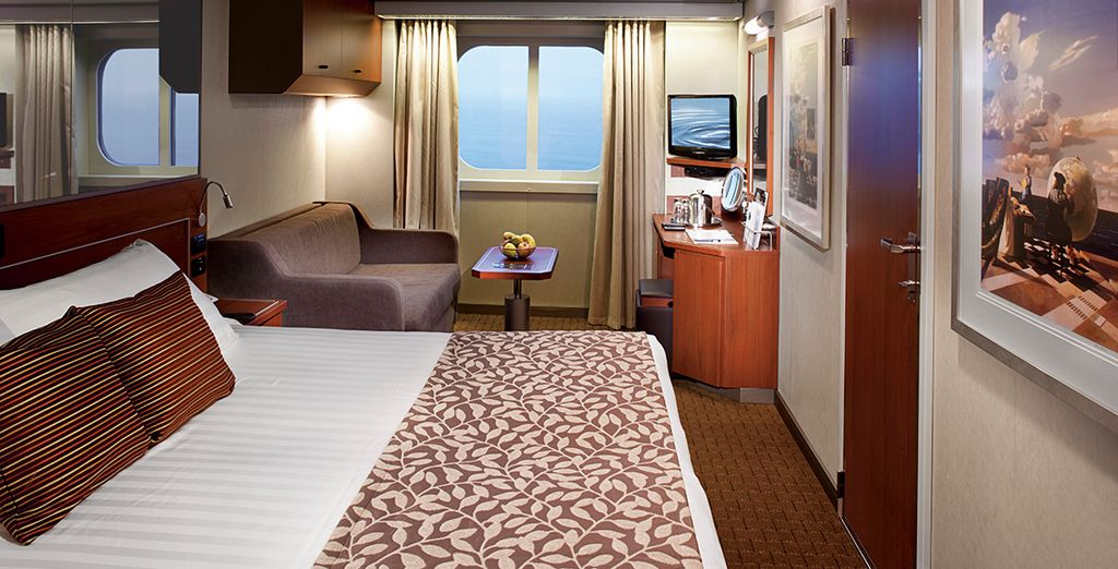 Choose from a variety of staterooms to suit your budget (ocean view pictured)