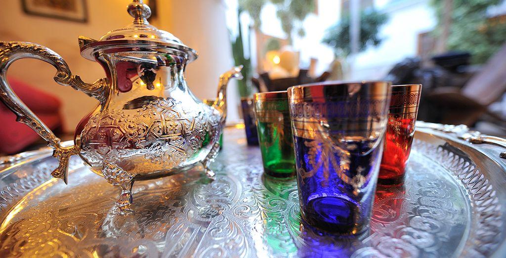 Enjoy complimentary daily mint tea - a refreshing treat
