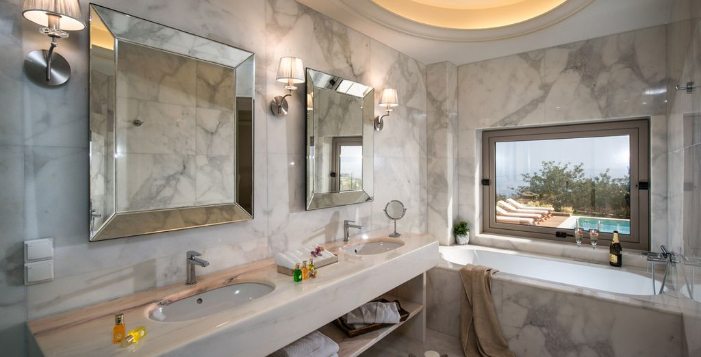 A sparkling marble bathroom