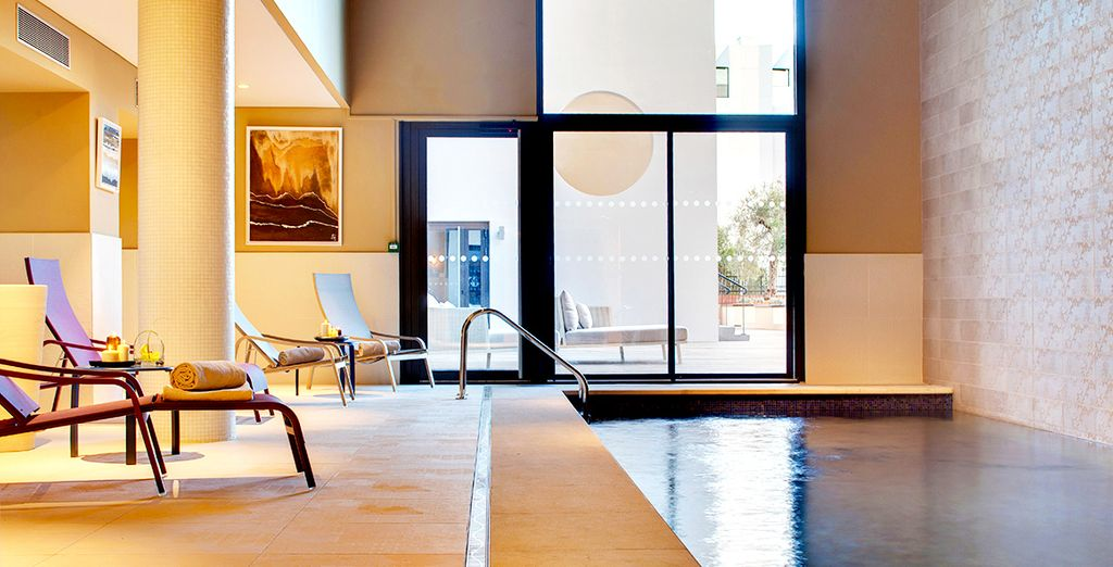 Take a dip in the sleek indoor pool
