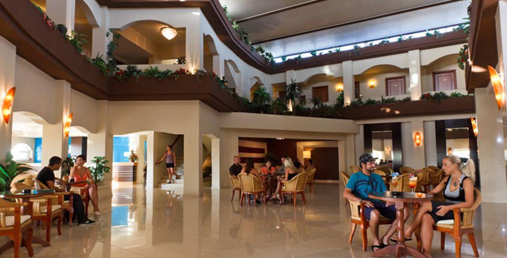Enter the bustling lobby