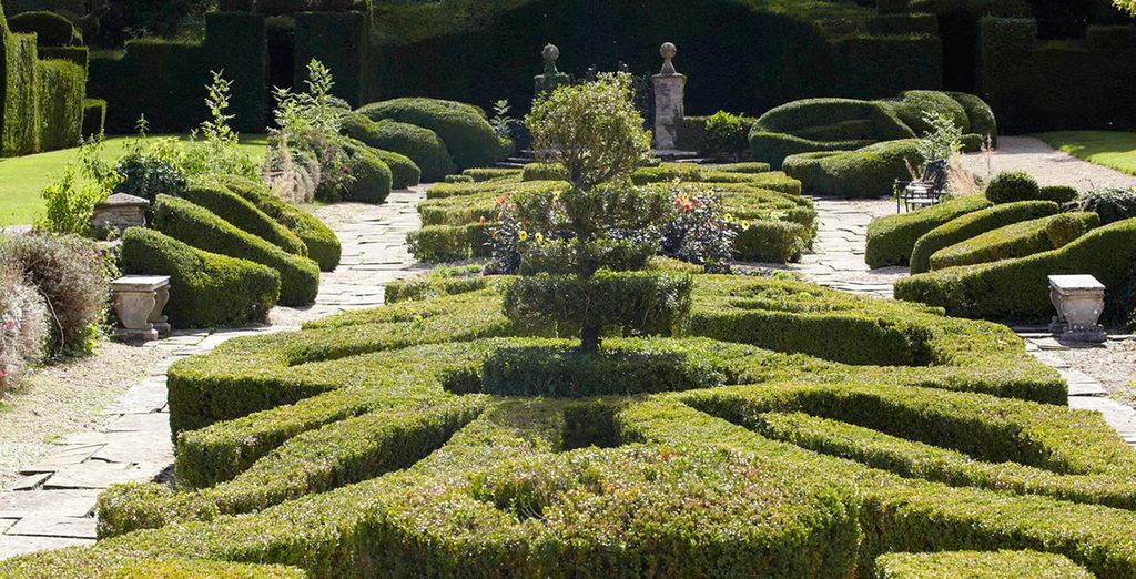 Meander through a sculptured gardens