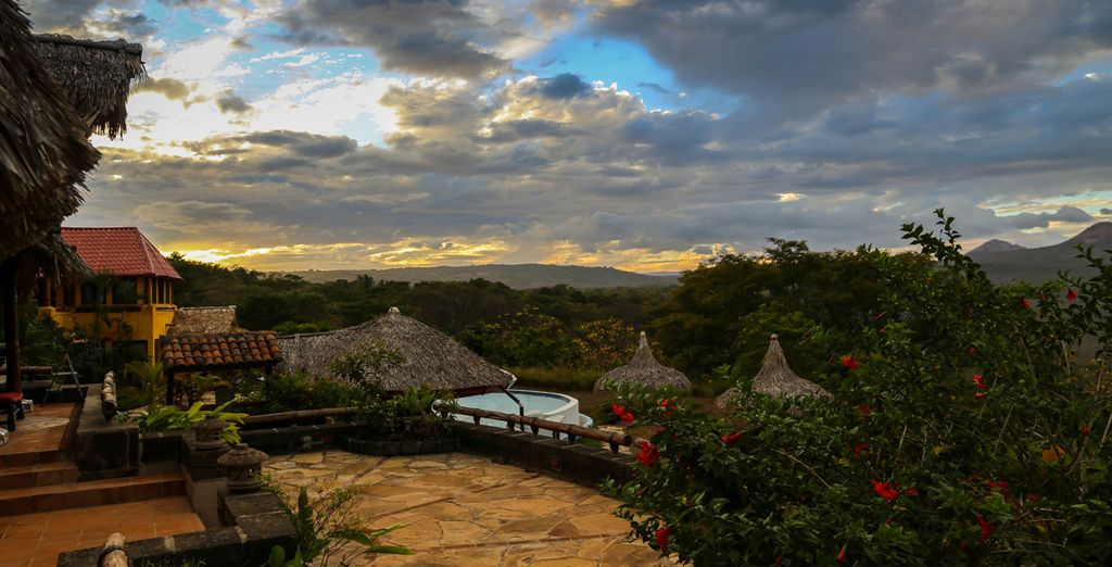 At the Hacienda Puerta Del Cielo in Central America, a lush, tropical resort