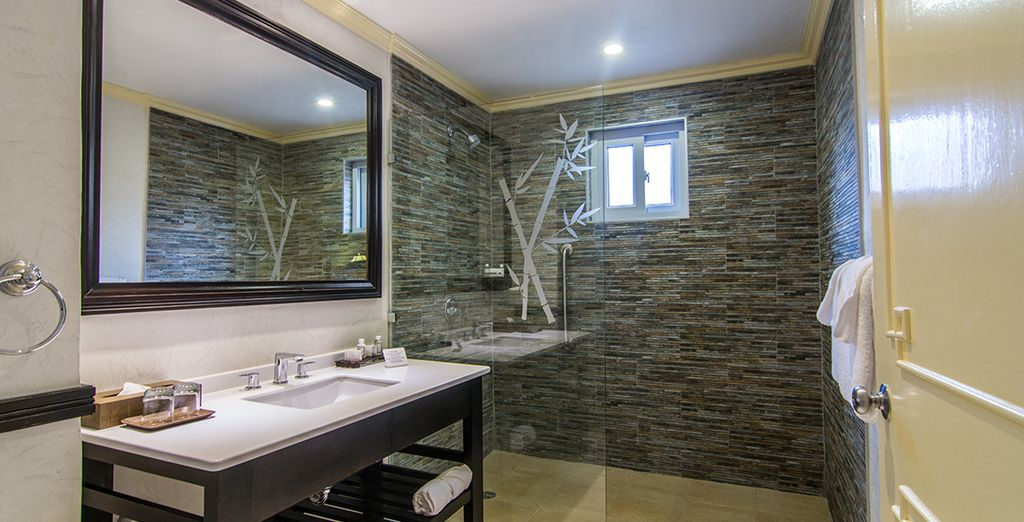 With a lovely walk-in shower