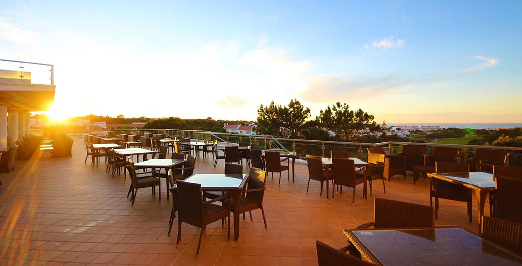 Enjoy meals on the sun-dappled terrace