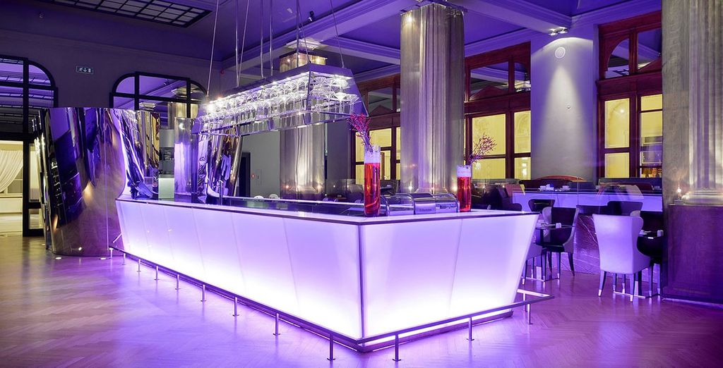 Order a drink in the strikingly stylish lounge