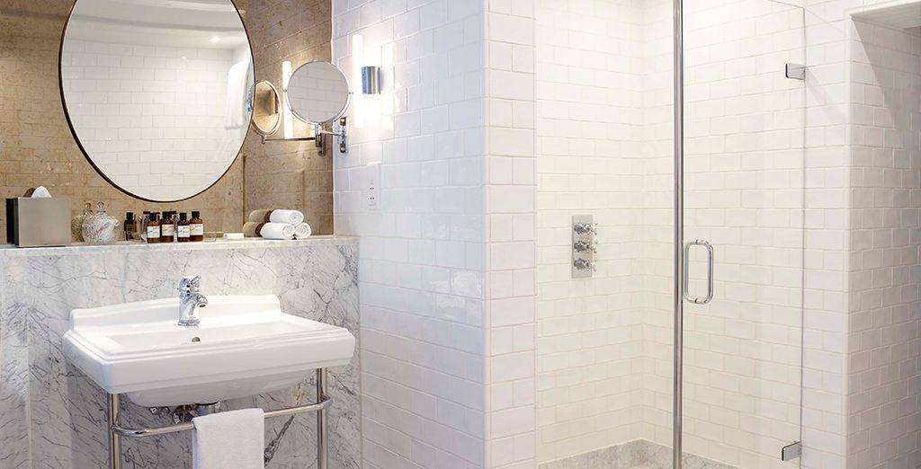 With sleek modern bathroom