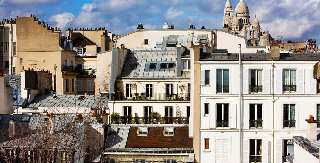 Where you can enjoy a coffee while the impressive sacre coeur peeks out from behind the rooftops