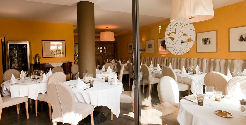 Or dine indoors in the chic restaurant