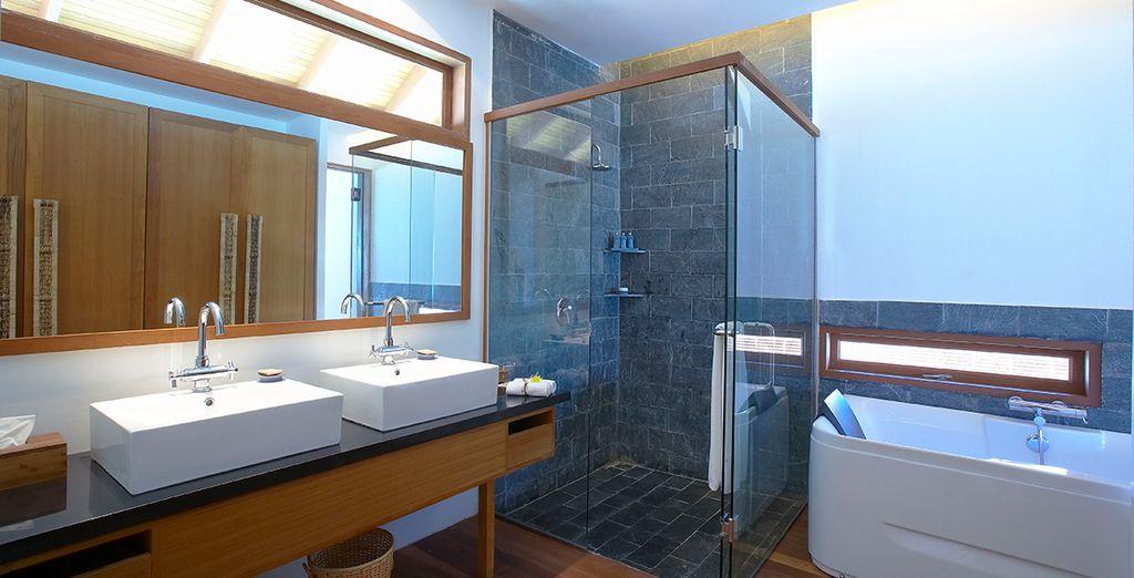 And a modern, airy bathroom