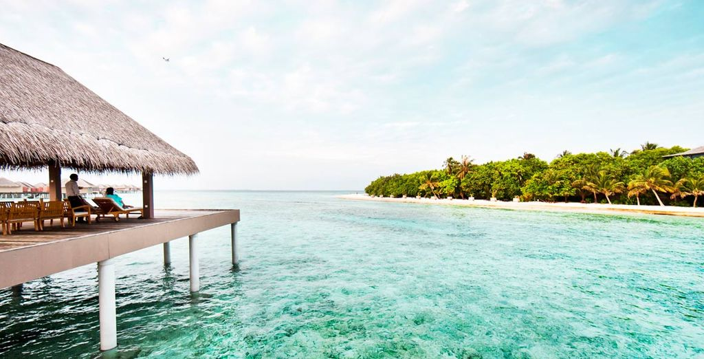 Perched above the turquoise waters
