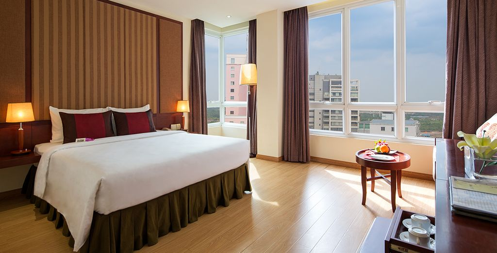 Where you will be staying in a spacious Deluxe Room