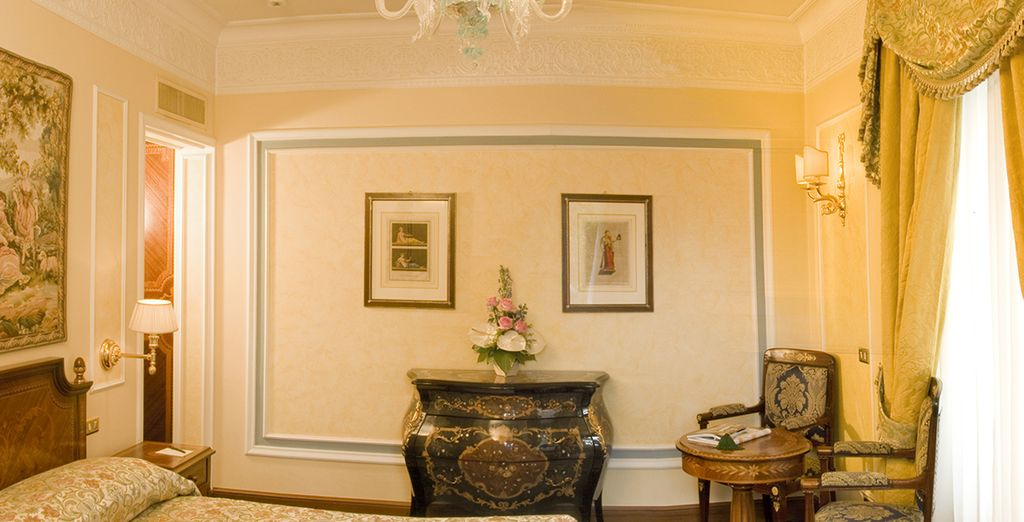 You will stay in a classically designed room with a Garden View