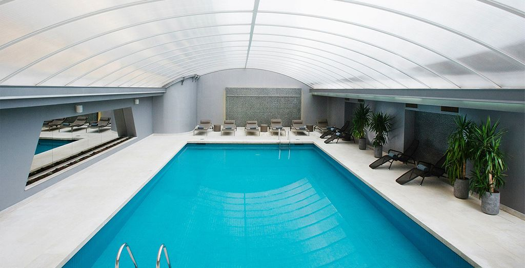 Take a dip in the indoor pool to relax